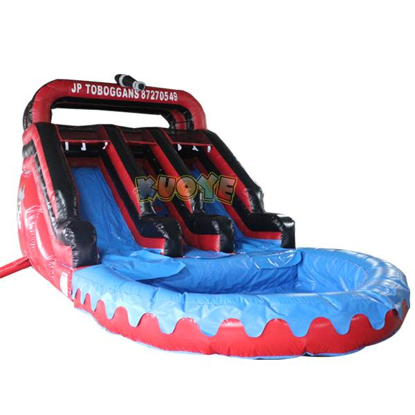 KYSS40 14ft Black and Red Water Slide with Pool
