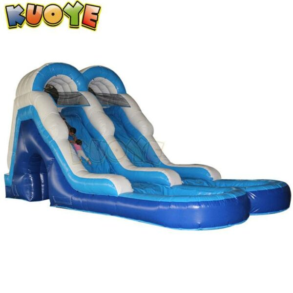 KYSS47 Blue Dual Lane Water Slide with Pool