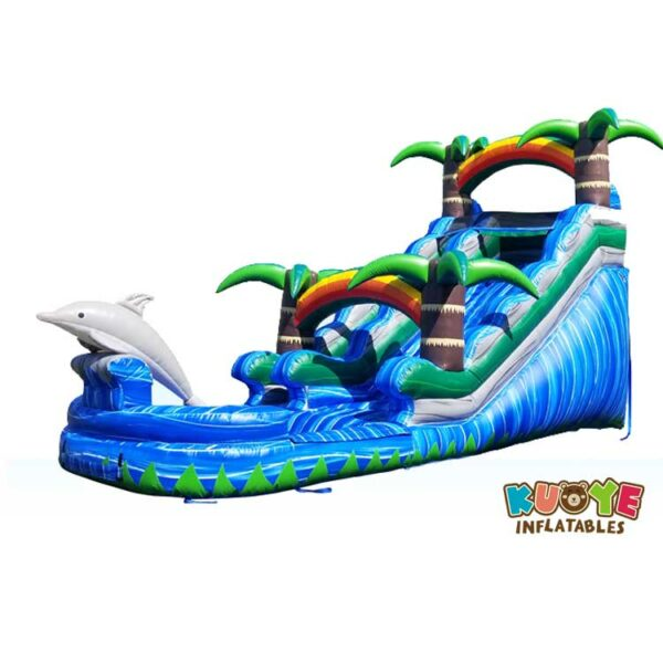 WS008 15ft Dolphin Splash Water Slide with Palm Tree