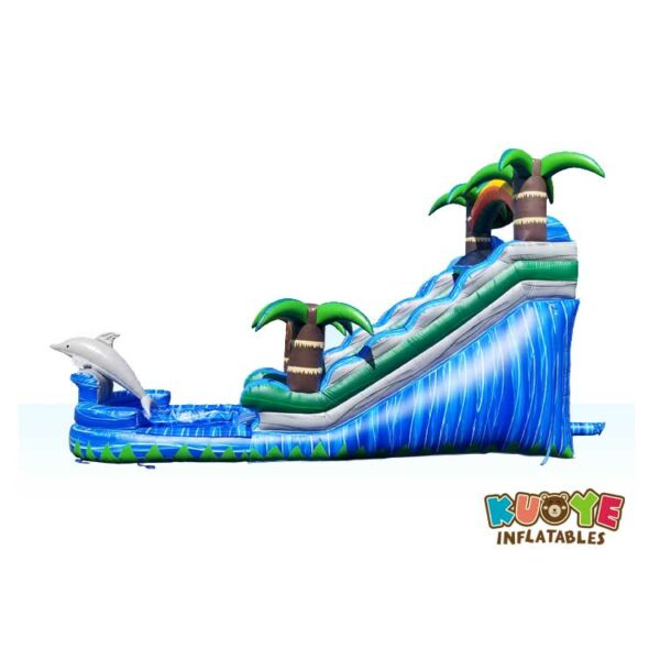 WS008 15ft Dolphin Splash Water Slide with Palm Tree 3