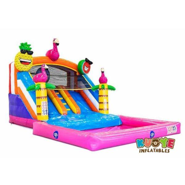 WS064 Splashy slide Flamingo Inflatable Slide