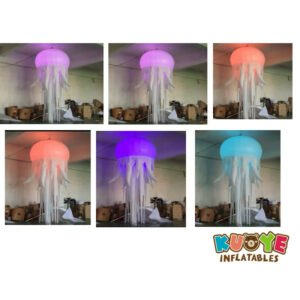 R004 Hanging Lighting Inflatable Jellyfish Balloon With RGB Light For Night Club And Party Decoration
