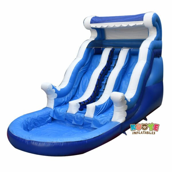 WS036 Inflatable Blue Wave Slide With Dual Lanes