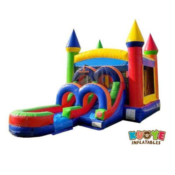 CB088 Kids Modern Rainbow Water Slide Bounce House Combo