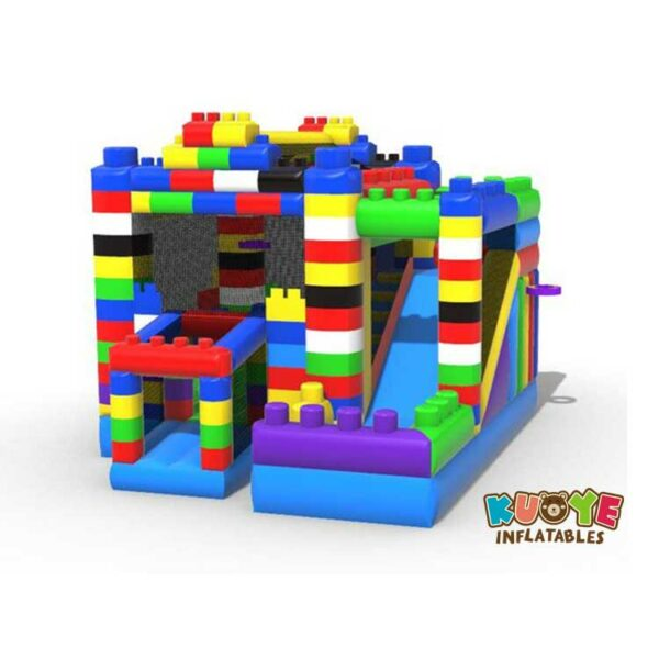 CB0102  Blocks Combo Bounce House with Slide
