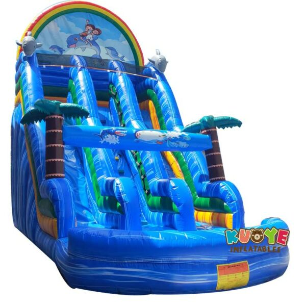 SL041 Inflatable Blue Marble Dolphins Slide with Dual Lines