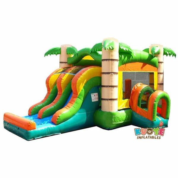 CB091 Kids Tropical Bounce House and Double Lane Slide Combo