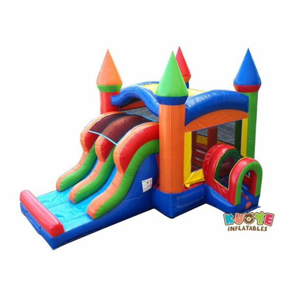 CB092 Kids Modern Rainbow Bounce House and Double Lane Slide Combo