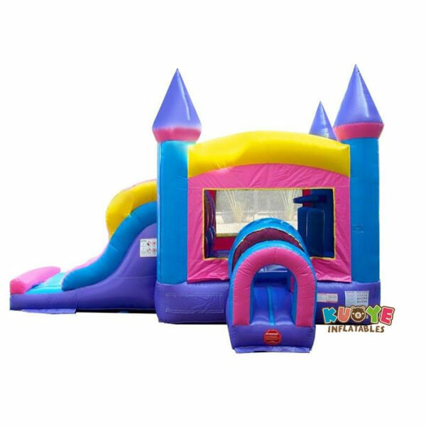 CB093 Kids Pink Bounce House and Double Lane Slide Combo