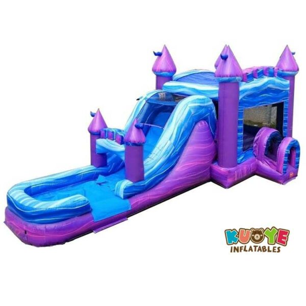 CB083 Mega Purple Marble Water Slide Bounce House Combo