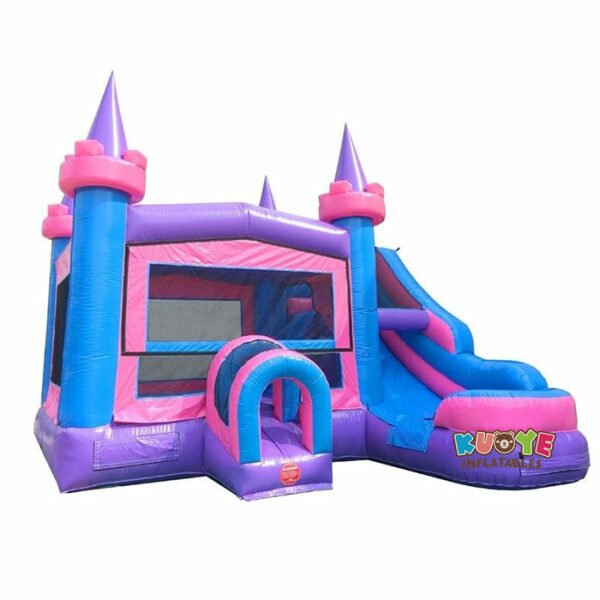 CB080 Modular Pink Castle Water Slide Bounce House Combo with Blower