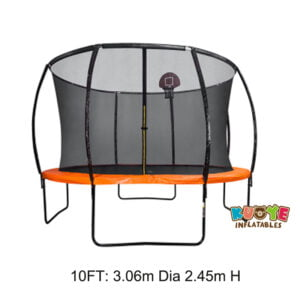 T003 10ft Outdoor Round Bungee Trampoline with Basketball Hoop