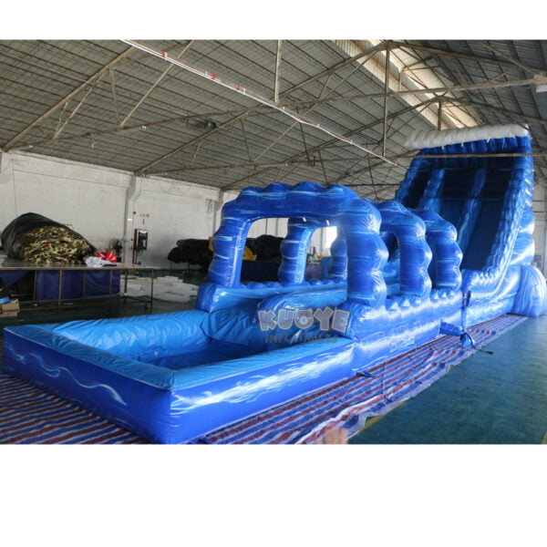 WS002 23ft Blue Marble Wave Double Lane Water Slide 2