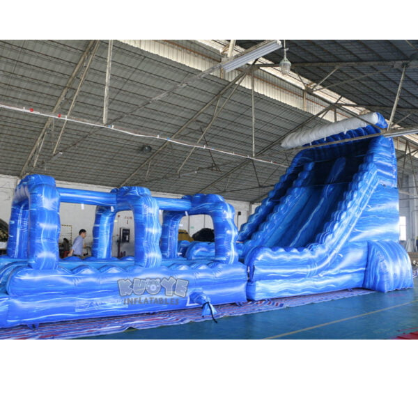 WS002 23ft Blue Marble Wave Double Lane Water Slide 3