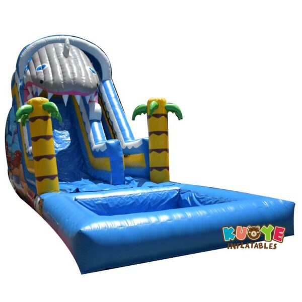 WS051 16FT Slide Shark Inflatable with Detached Pool