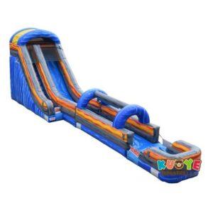 WS112 20ft Blue Marble Water Slide w/Slip N Slide